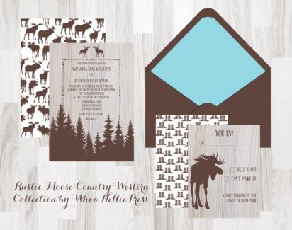 Rustic Country Moose Wedding Invitations – created and sold by WhoaNelliePress on Etsy