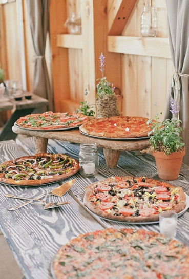 Rustic Pizza Food Bar – shared in a roundup post by Brides