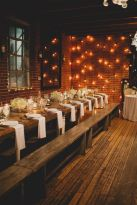 Rustic Tables and Benches with Baby's Breath – shared on 100 Layer Cake