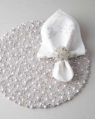 Silver & White Holiday Table Linens by Kim Seybert – sold on Horchow