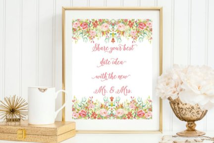 Spring Blossom Bridal Shower Date Jar Card Printable – created and sold by MaggieJDesigns on Etsy