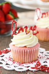 Strawberry Cupcakes with Cream Cheese Frosting - recipe shared by Life, Love and Sugar