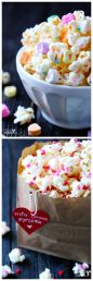 Valentine's Popcorn White Chocolate Popcorn - recipe shared by Gimme Some Oven
