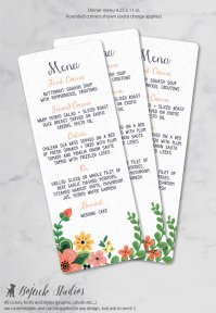 Whimsical Floral Menus – created and sold by BoJackStudios on Etsy