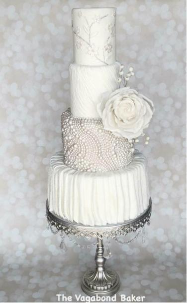 White Pearls and Roses Wedding Cake – created by The Vagabond Baker
