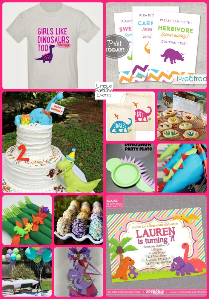 Colorful Dinosaur Party Ideas for Girls by Unique Pastiche Events See the full post with all the details here: https://uniquepasticheevents.com/2016/03/23/colorful-dinosaur-party-ideas-for-girls/