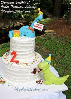 Dinosaur Birthday Cake Video Tutorial – shared by My Cake School