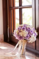 Gardenias and Lavender Rose Satin Wrapped Bouquet – shared by Mindy Weiss