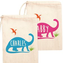 Personalized Dinosaur Birthday Party Favor Bags – created and sold by ShopPsychobaby on Etsy