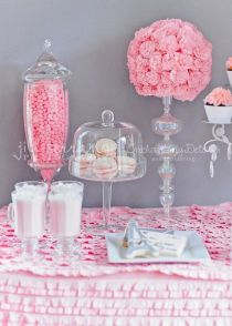 Pink and Glass Sweet Dessert Table – shared on Catch My Party