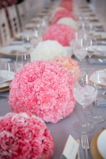 Pink and White Carnation Sphere Centerpieces – shared in the Style Me Pretty Vault