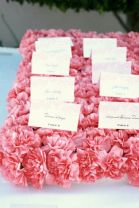 Pink Carnation Flower Escort Card Bed – shared on Elizabeth Anne Designs