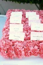 Pink Carnation Flower Escort Card Bed – shared on Elizabeth Anne Designs