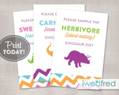 Printable Dinosaur Food Signs – created and sold by iwedfred on Etsy