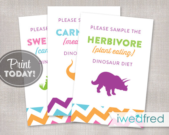printable dinosaur food signs created and sold by iwedfred on etsy