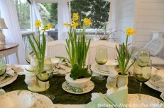 Spring Daffodil and Moss Easter Table Setting – shared by Between Naps on the Porch