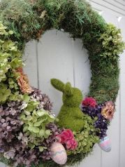 Spring Easter Bunny Wreath Moss Wreath – made by donnahubbard on Etsy