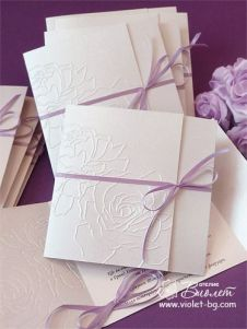 Wedding Invitations with Embossed Roses with Lilac Ribbon – made by Violet Wedding Invitations