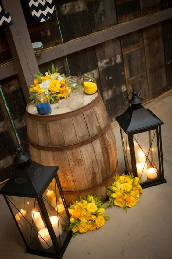 Country Lanterns With Candles And Sunflower Vignette
