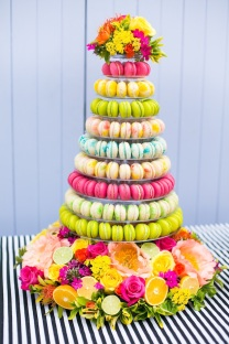 Dessert Macaron Display in Colorful Shades of Chartreuse, Hot Pink, Lemon and Lime – shared on Bridal Musings