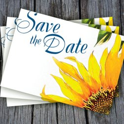 DIY Sunflower Save the Date Printable Postcard – created and sold by VGInvites on Etsy