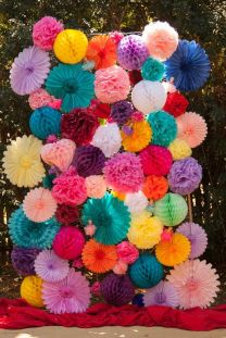 Eclectic and Colorful Photo Booth Back Drop – shared by Rock N Roll Bride