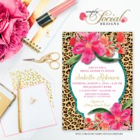Glitter Glam Funky Hot Pink Watercolor Flowers with Leopard Print – Printable Invitation – made and sold by SimplySocialDesigns on Etsy