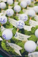 Golf Ball on Tee Escort Cards in Green Moss – shared by Rachel McCauley