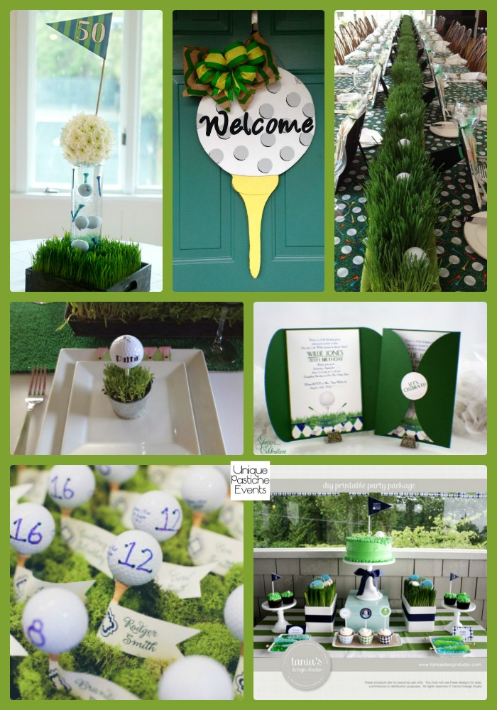 Golf Partee Party Ideas See the full post with all the details here on golf party desserts, golf party accessories, golf party gifts, luau printables, golf party cards, golf themed party centerpieces, golf party slogans, golf theme party supplies, golf wrapping paper printable, county fair printables, golf bridal shower,
