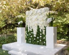 Large White Floral Wall Wedding Altar – created and shared by Floral Art