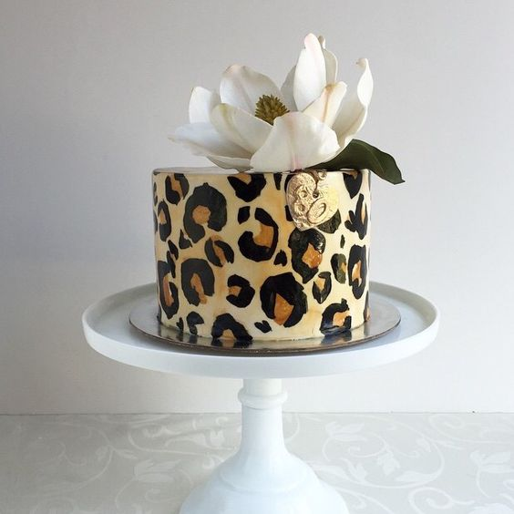 Sensational Leopard Print Cake With White Flower Spotted On Pinterest Funny Birthday Cards Online Elaedamsfinfo