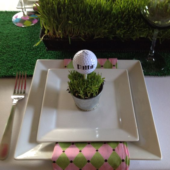 Place Setting with Golf Ball on Tee – shared in this roundup post on One Stop Party Ideas