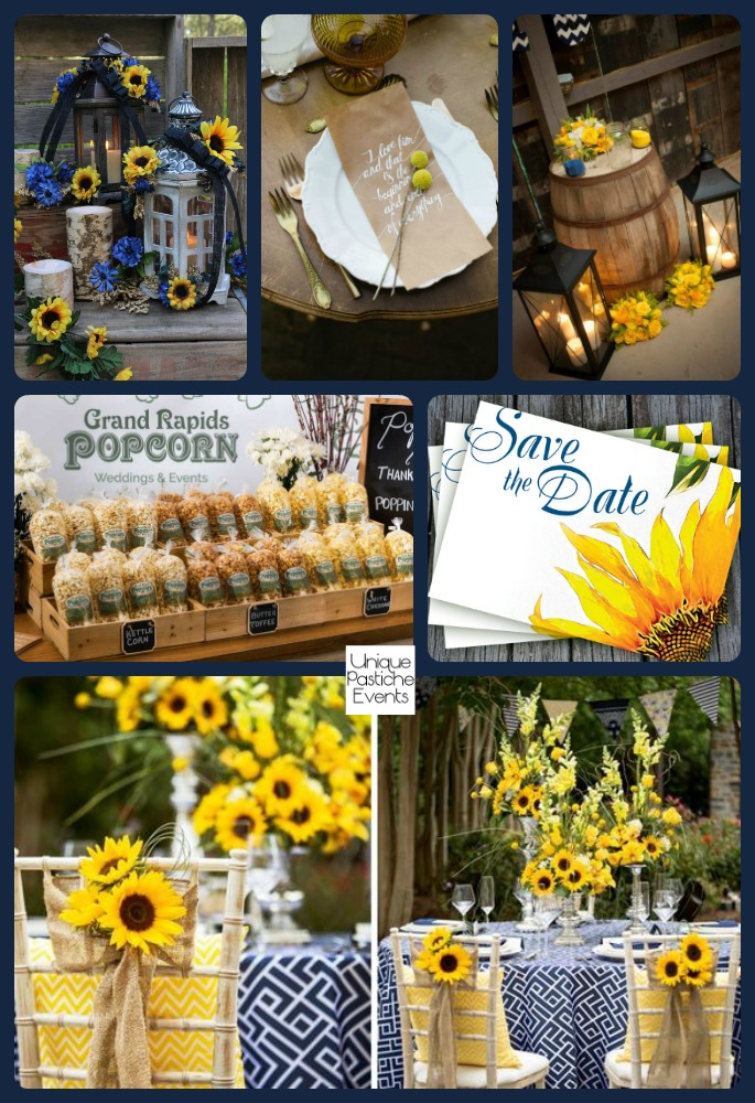 Rustic Country - Sunflower and Navy Soiree at Sunset See the full post with all the details here: https://uniquepasticheevents.com/2016/04/20/rustic-sunflower-and-navy-country-sunset-reception/