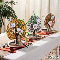 Safari Animal Print Fan Place Settings – tutorial available on Oriental Trading