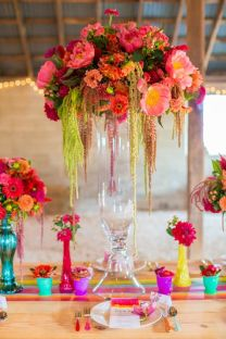 Tall, Eclectic Focal Centerpiece Décor with Colorful Bud Vases – shared on Ruffled