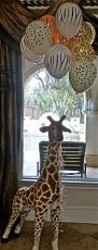 Tall Giraffe with Animal Print Balloons – shared by P is for Party