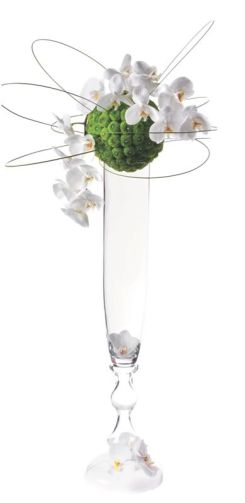 Tall Modern Centerpiece with White Orchid and Green Floral Sphere – spotted on Pinterest