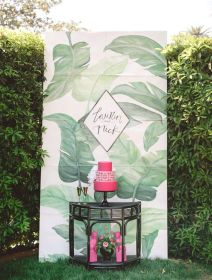 Tropical Foliage Print Photo Booth – shared by Green Wedding Shoes