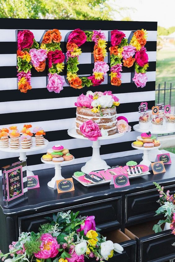 Vibrant flowers mom food buffet with black and white - Black and white food ideas ...