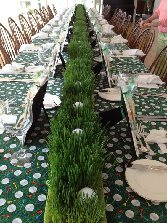 Wheat Grass and Golf Ball Long Centerpiece – shared on Pinterest