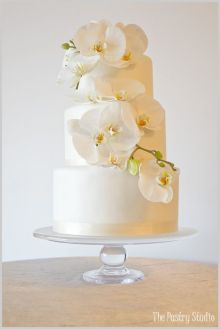 White Shimmery Wedding Cake Adorned with Orchids – created by The Pastry Studio