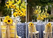 Yellow and Navy Summer Centerpiece and Tablescape with Sunflowers – shared by Southern Bride and Groom Magazine