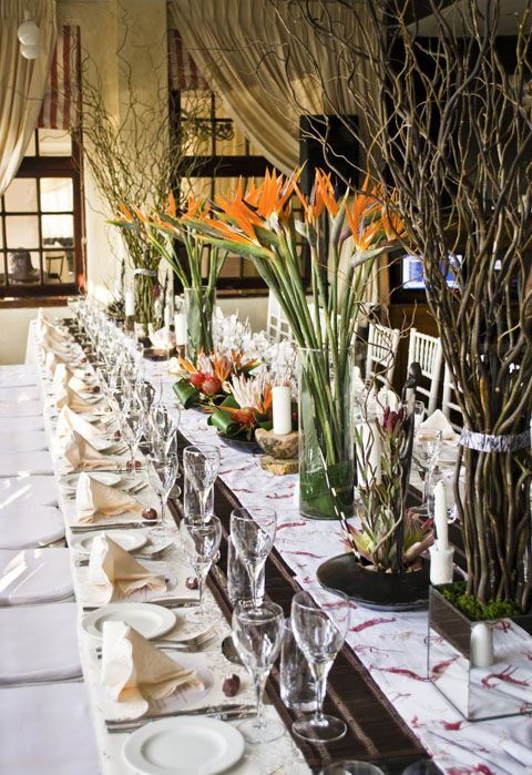 African bird of paradise centerpiece and tablescape for African wedding decoration theme
