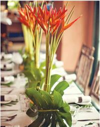 Bird of Paradise and Bamboo Tropical Centerpiece – shared on Bride