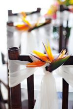 Bird of Paradise Wedding Chair Décor – featured on Elevophotography