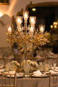 Crystal Candelabra with Gold Leaf Garland Centerpiece – shared by MODwedding