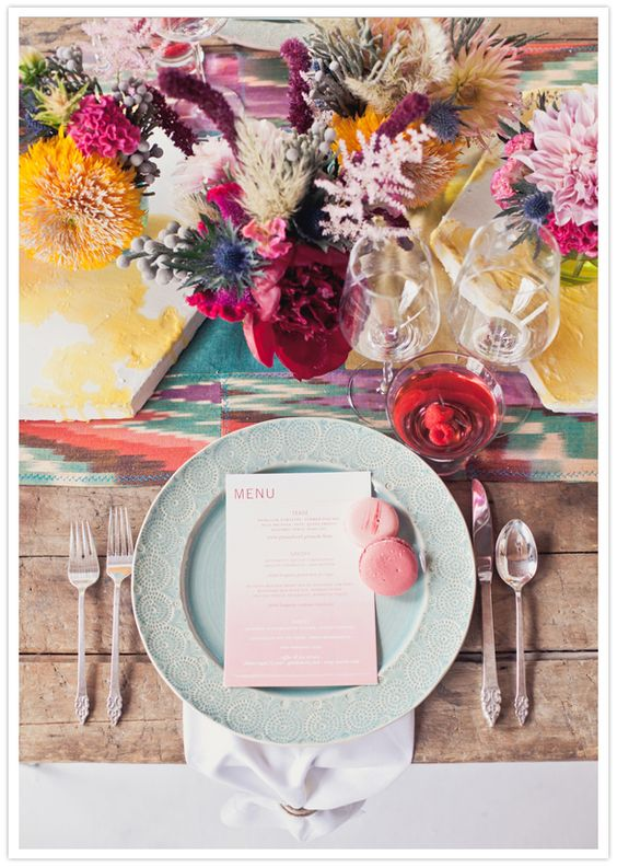 Eclectic and Colorful Tablescape and Centerpiece – featured on 100 Layer Cake