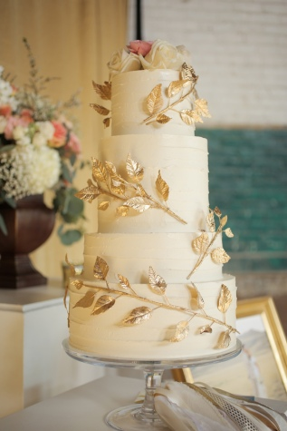 Gold Leaf and Branch Wedding Cake – shared by Ruffled