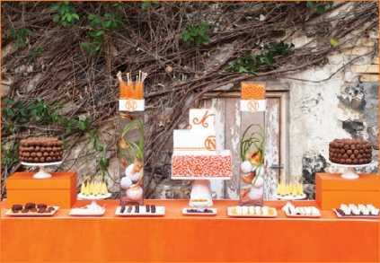 Minimalist Modern Dessert Buffet Table in Orange and White – shared on Hostess with the Mostess