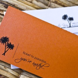 Orange Boarding Pass Invitation with Bird of Paradise – created and sold by SproullieDesigns on Etsy